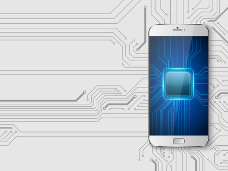 Touchscreen Smartphone with circuit background.vector Illustration
