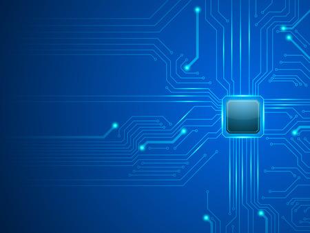 vector cpu computertechnologie, elektronische concept. Stock Illustratie