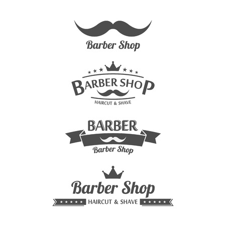 straight razor: Set of vintage barber shop graphics.vector