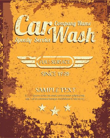rusty car: Retro car wash sign. Vector Illustration