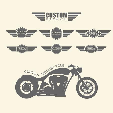 klubok: Állítsa be a vintage egyedi motorkerékpár címkék, vektor Illusztráció