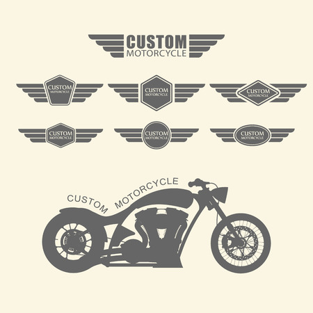 caf�: Set di etichette moto custom d'epoca, vettore Vettoriali