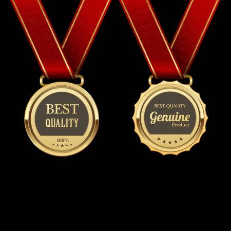 medal ribbon: Golden labels.vector