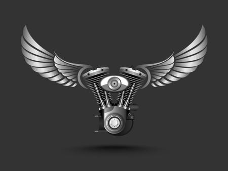 Motorcycle engine with wings.vector