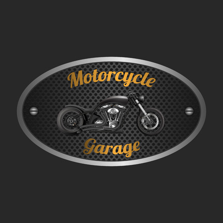 Motorcycle garage sign.vector Illustration