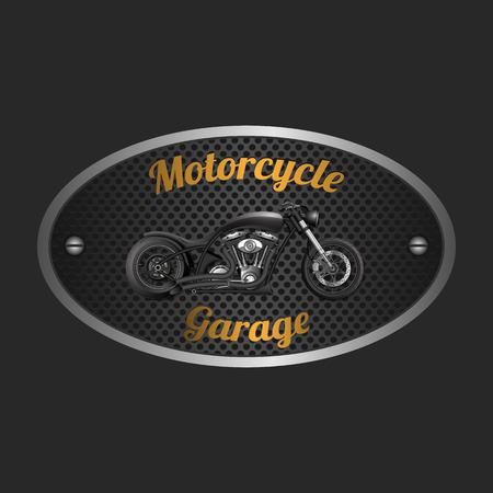 Motorcycle garage sign.vector Illustration