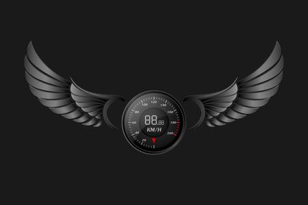 odometer: Speedometer with wings.vector