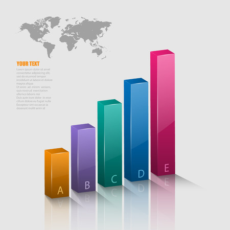 business growth: Vector illustration of 3d graph