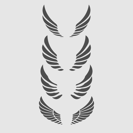 doves: Wings Vector Set. Illustration