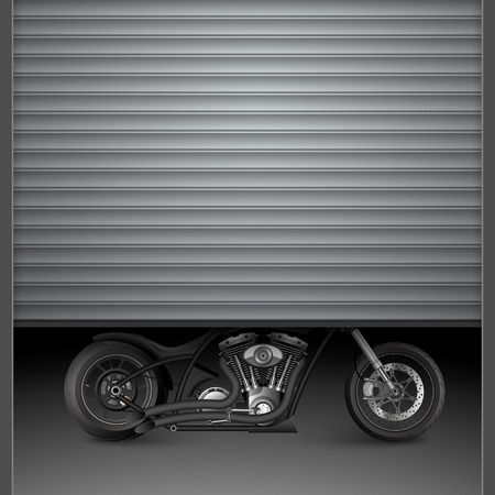 cruiser bike: Motorcycle behind garage door. Illustration