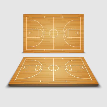 terrain de basket: Vector Basketball Field.vector Illustration