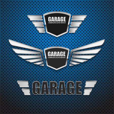 tow: Vintage garage retro label design.vector