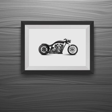 wood carving 3d: Photo frames on wall with Vintage Motorcycle. Illustration