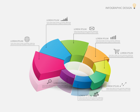 3d pie chart graph. vector illustration.