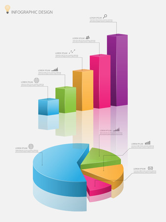info chart: 3d pie chart graph,3d graph.Vector illustration