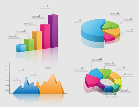 Set of vector 3d graph modern infographic elements, business
