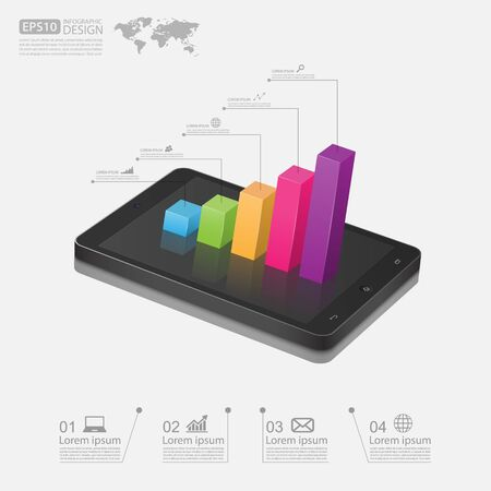 smartphone business: Business graph on smartphone,vector Illustration