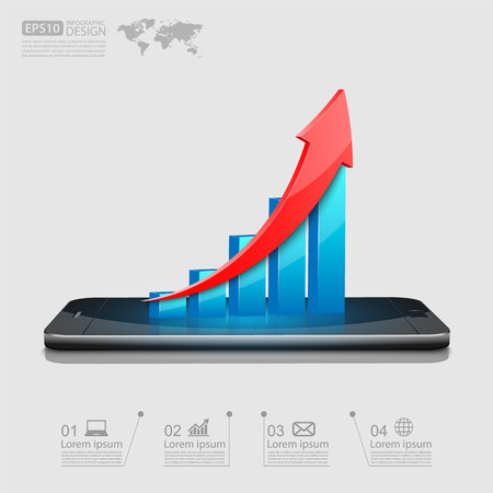 banking concept: Business graph on smartphone,vector Illustration