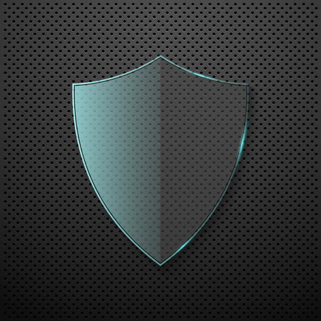 escudo: Fondo del metal con protector de vidrio. Vector
