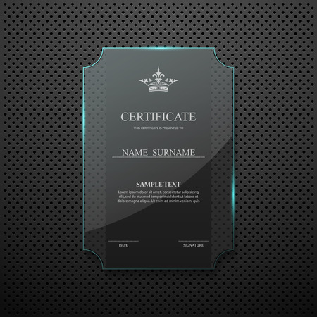 a certificate: Certificate design template on glass frame Illustration