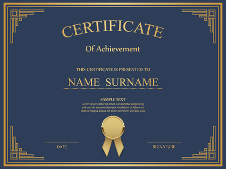 blank signs: Vector certificate template. Illustration