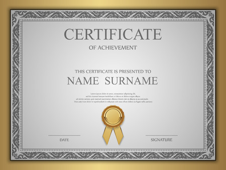 calligraphy frame: Vector certificate template. Illustration