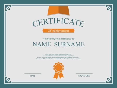 ornate border: Vector certificate template. Illustration