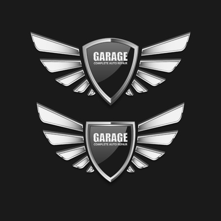 badge shield: Vintage garage retro label design.vector