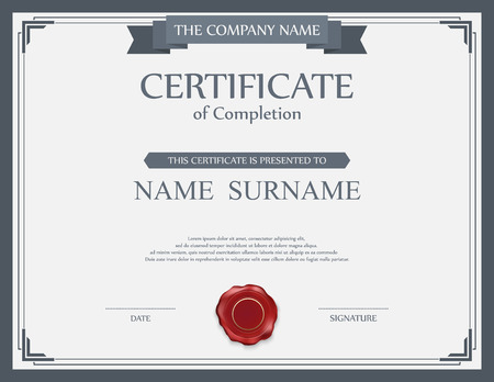 design frame: Vector certificate template. Illustration