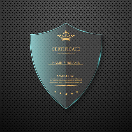 Vector certificate template with glass shield.