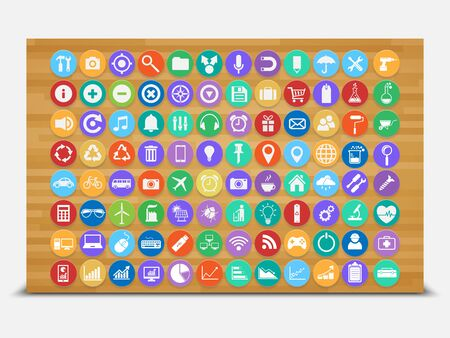 Set of flat icons on wood background,vector Vector