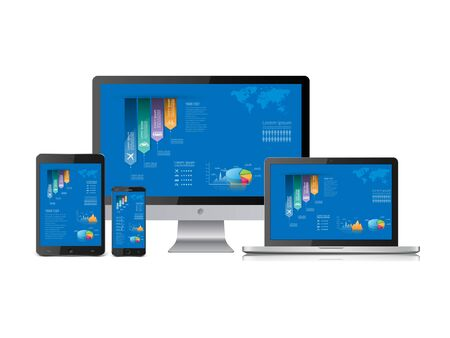 Computer statistics vector with laptop, tablet and smartphone