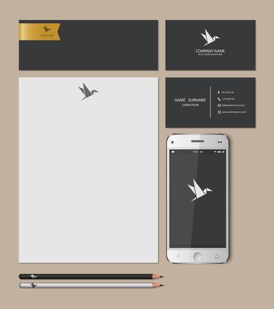 lapiz y papel: Plantillas: tarjetas en blanco, negocios, tel�fono elegante, marca de libro, l�piz, ilustraci�n vectorial.