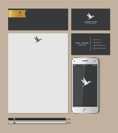 smart card: Templates:blank, business cards, smart phone, brand-book,pencil, Vector illustration.