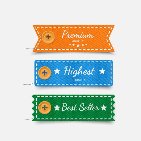 woven label: Clothing labels. Vector Illustration