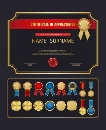 Vector certificate template,Golden labels collection.vector