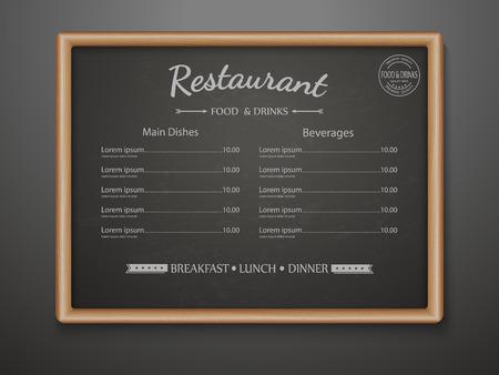 chalkboard menu: Chalkboard menu for restaurant,vector Illustration