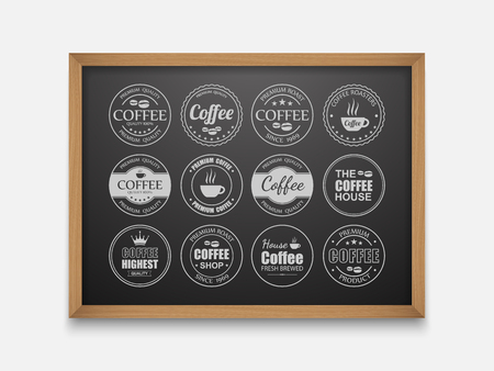 coffee to go: Set of vintage Retro Coffee Labels On Chalkboard,vector