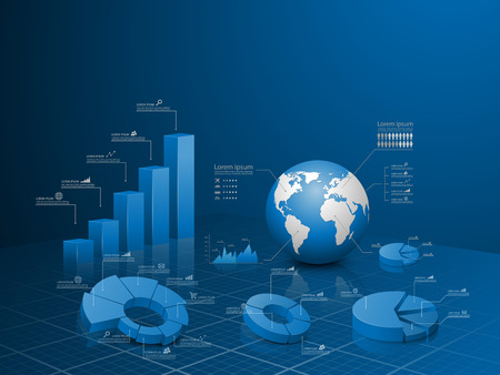Set of vector 3d graph with infographic global template. Illustration