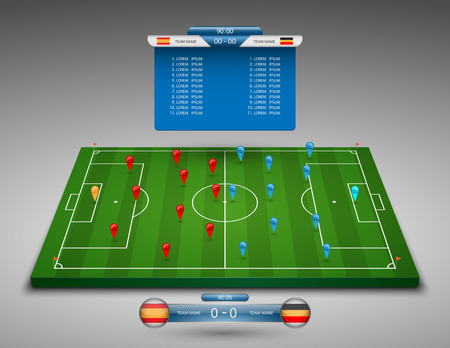 soccer ball on grass: vector soccer field with scoreboard,vector Illustration