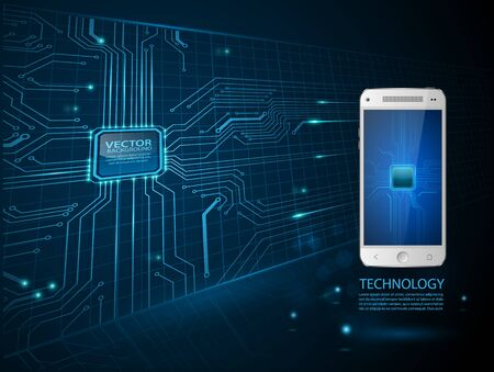 touchscreen: Touchscreen Smartphone with circuit background.vector Illustration