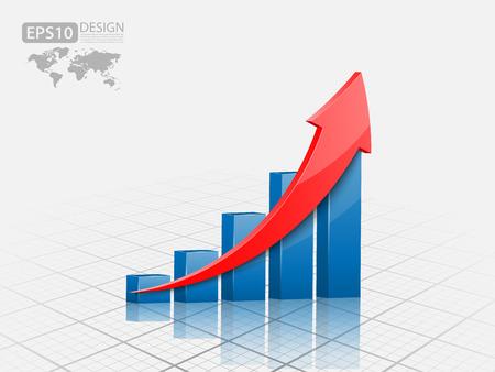 crecimiento: Ilustración vectorial de gráfico 3d Vectores