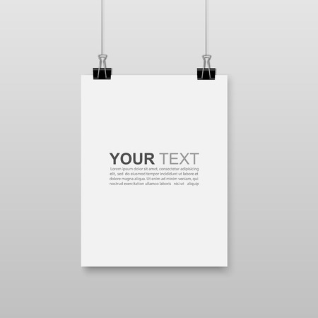 Empty white A4 sized paper hanging with paper clips.vector