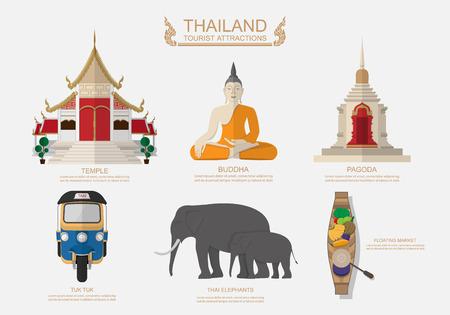 tempels: Reizen Thailand .Vector