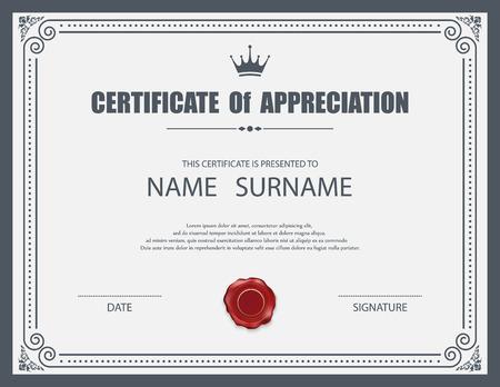 marcos decorativos: Plantilla de certificado vector.