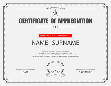 appreciations: Vector certificate template. Illustration