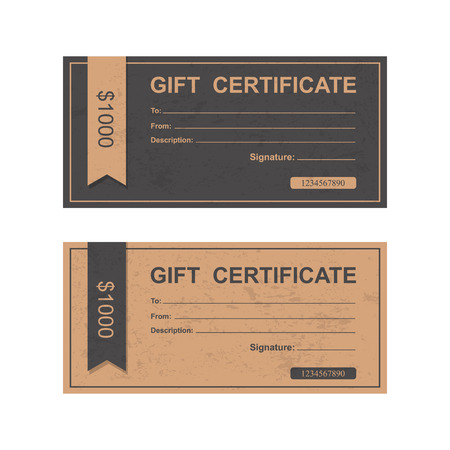 fake money: Voucher, Gift certificate, Coupon template. Illustration