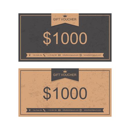 signos de pesos: Vale, Vale de regalo, plantilla de descuento.