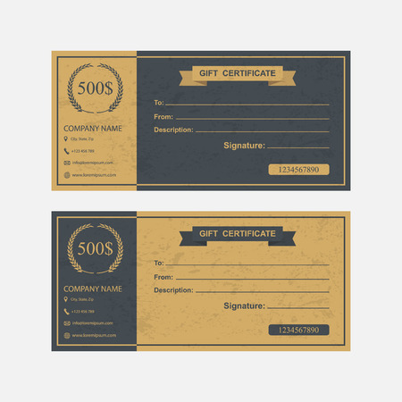 certificate bow: Voucher, Gift certificate, Coupon template. Illustration