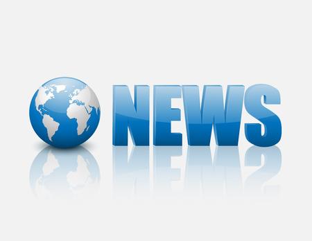 3D globe with blue word News,vector Vector
